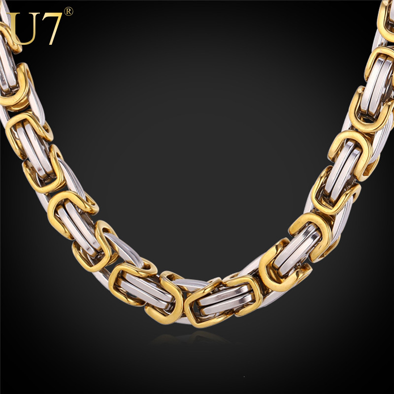 Two Tone Gold Chain Stainless Steel Necklace Men Jewelry Never Fade Party Trendy Byzantine Link Chain Chunky N417(China (Mainland))