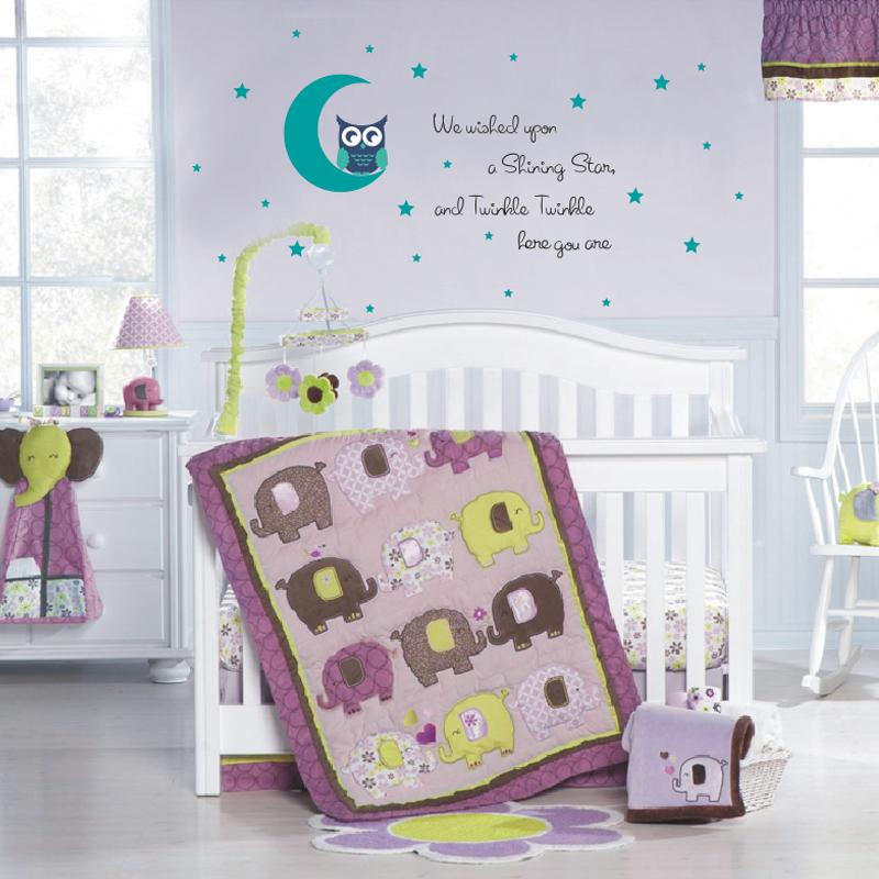 Decal nursery vinyl wall sticker girl boy bedroom decor owl on moon