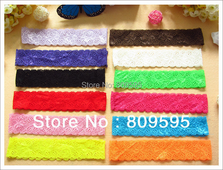 Free shipping , Wholesale 300pcs/lot 12colors 1.5inch Lace Headbands Baby Girl Hair Band Elastic Headband Baby Hair AccessoriesОдежда и ак�е��уары<br><br><br>Aliexpress