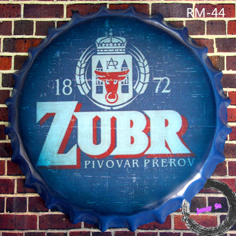 1872 *ZUBR* Czech Republic Beer Round Beer signs Beer Cap Vintage Metal Tin signs Diner Bar Wall Iron Painting<35cm,RM-44>(China (Mainland))