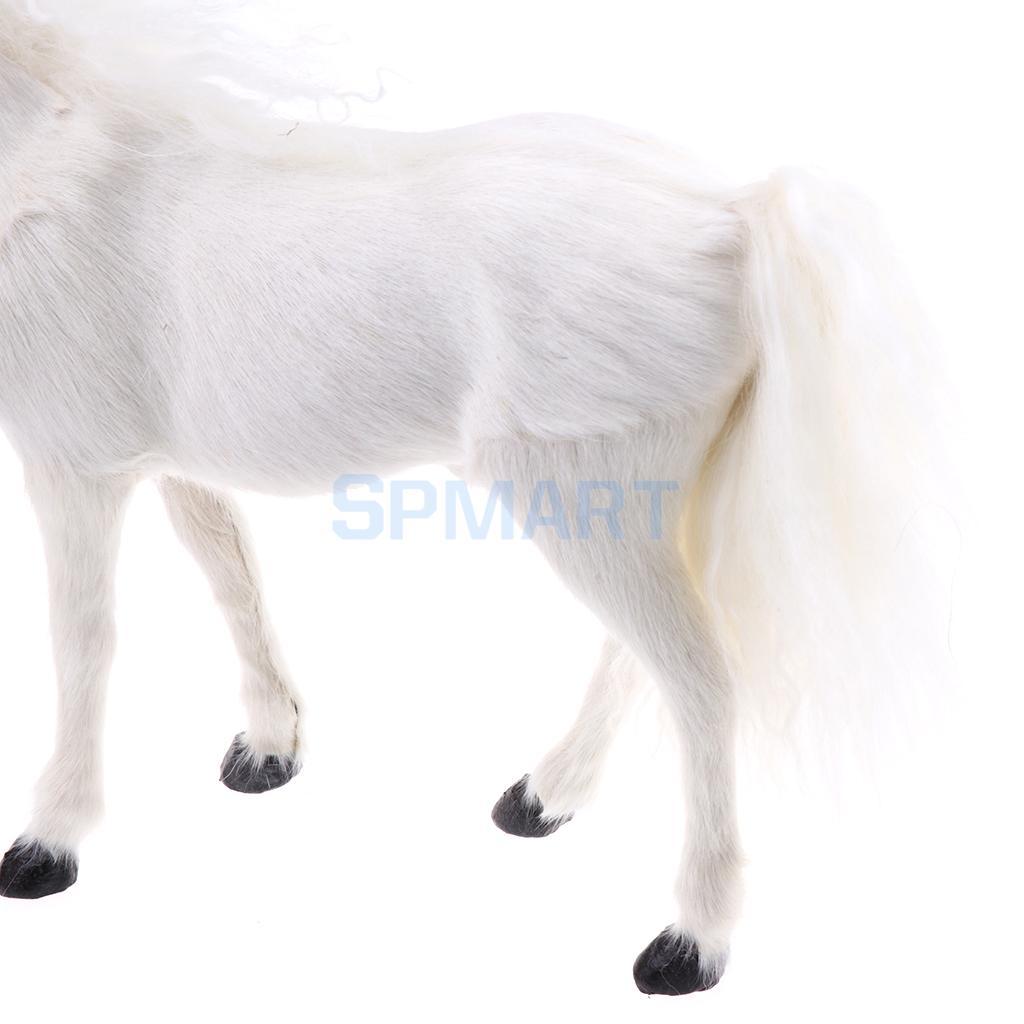 Lifelike Simulation Plush Stuffed Horse Animals Model Figure Plush Figures Soft Toy Home Decoration White