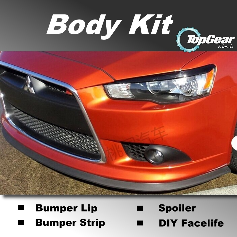Bumper Lip Lips For Mitsubishi Lancer Evolution EVO / Top Gear Shop Spoiler For Car Tuning / TOPGEAR Recommend Body Kit + Strip(China (Mainland))