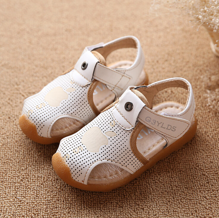 2015 Kids Boy Sandals Baby Boys Beach Shoes Non-slip Boys Shoes Spring And Summer New Korean Aged 0-3 White Light Tan Brown(China (Mainland))