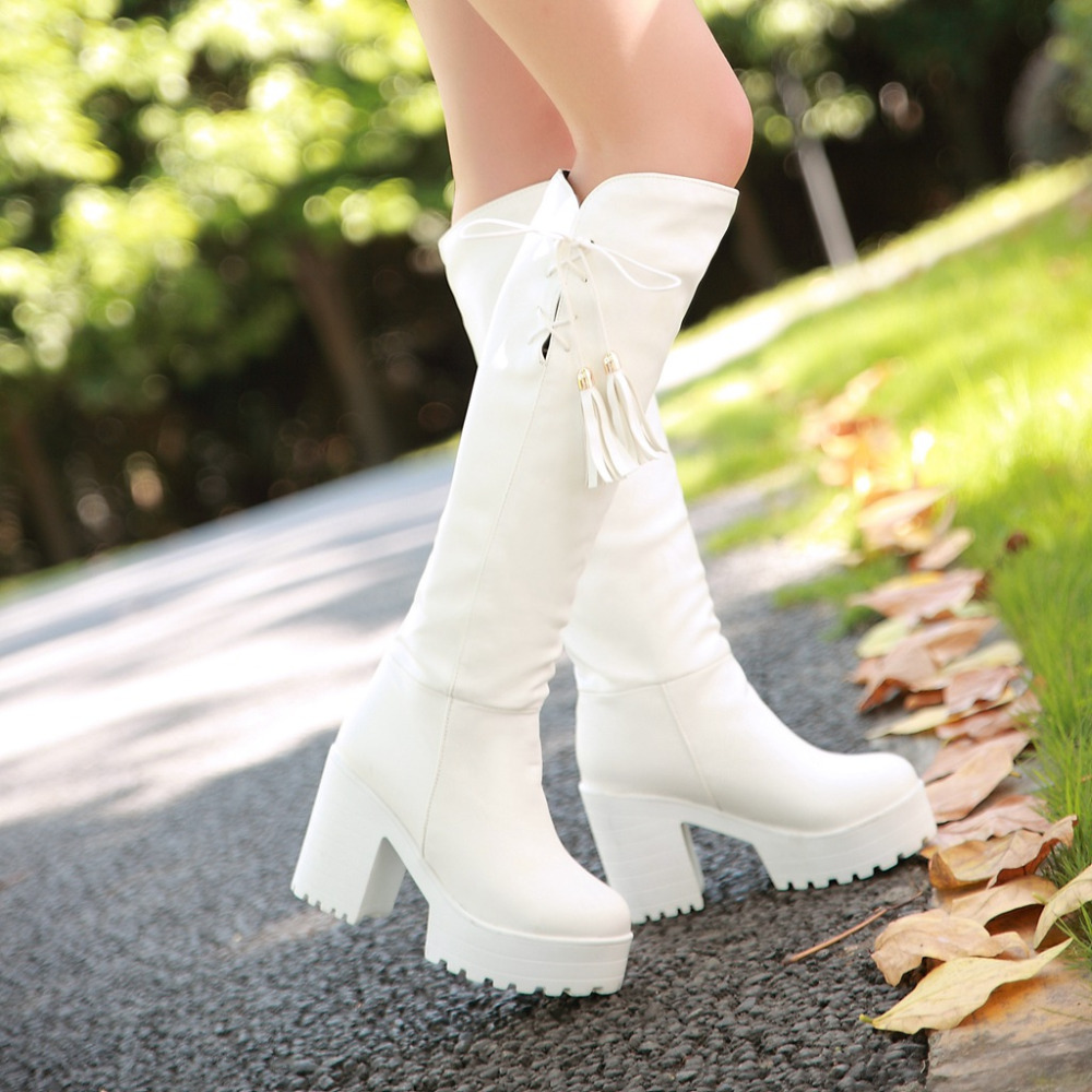 New women lace up knee high boots thick high heels women boots winter boots casual shoes woman large size 34-46