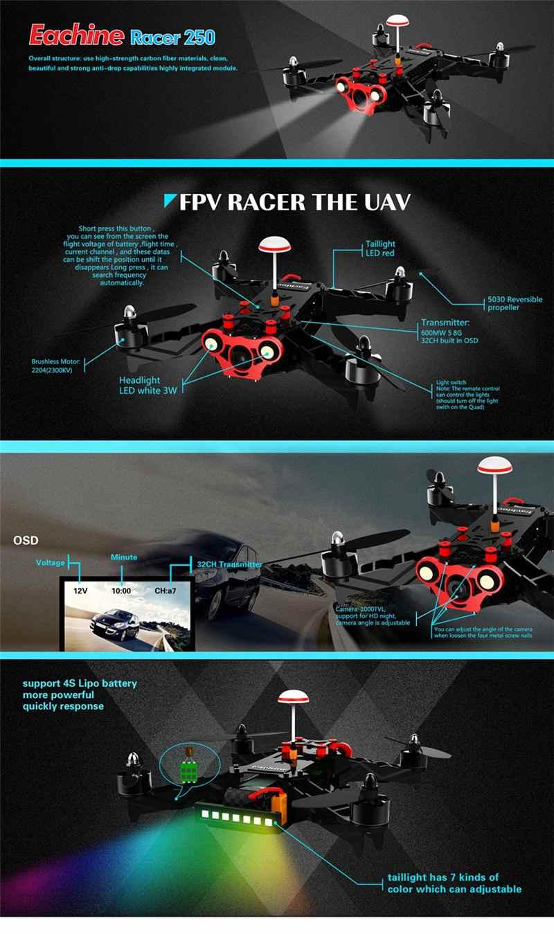 New Arrival Eachine Racer 250 FPV Drone F3 NAZE32 CC3D w/ Eachine I6 2.4G 6CH Remote Control VTX OSD RTF RC Multicopter Drones