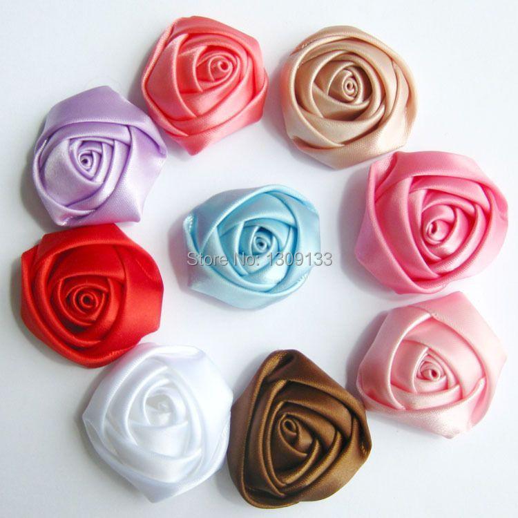 3cm Satin Rose Flowers Rolled Rosettes Silk Rose flowers DIY Supply Hair Flowers(China (Mainland))