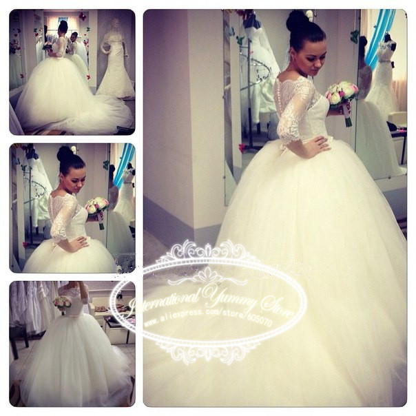 2015 New Lace and Tulle Ball Gown Wedding Dress Vestidos de Noiva Bridal Gown Court Train with Sleeves Buttons Back(China (Mainland))