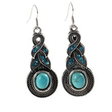 GR Jewelry Hot Sale Blue Stone Earrings Jewelry Bohemia Earing For Women In Stock Free Shipping(China (Mainland))