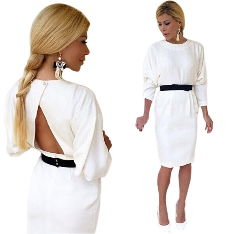 2016 Fashion White Sexy Backless Ladies Dresses Casual Women Batwing Sleeve Knee-length Dress Vestidos Plus Size BZ669345(China (Mainland))