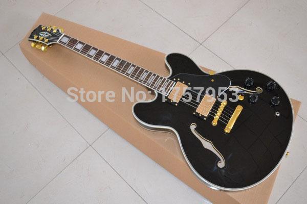 Free Shipping Factory custom shop 2015 New highest quality ES 335 jazz black color Electric Guitar (hai 2(China (Mainland))