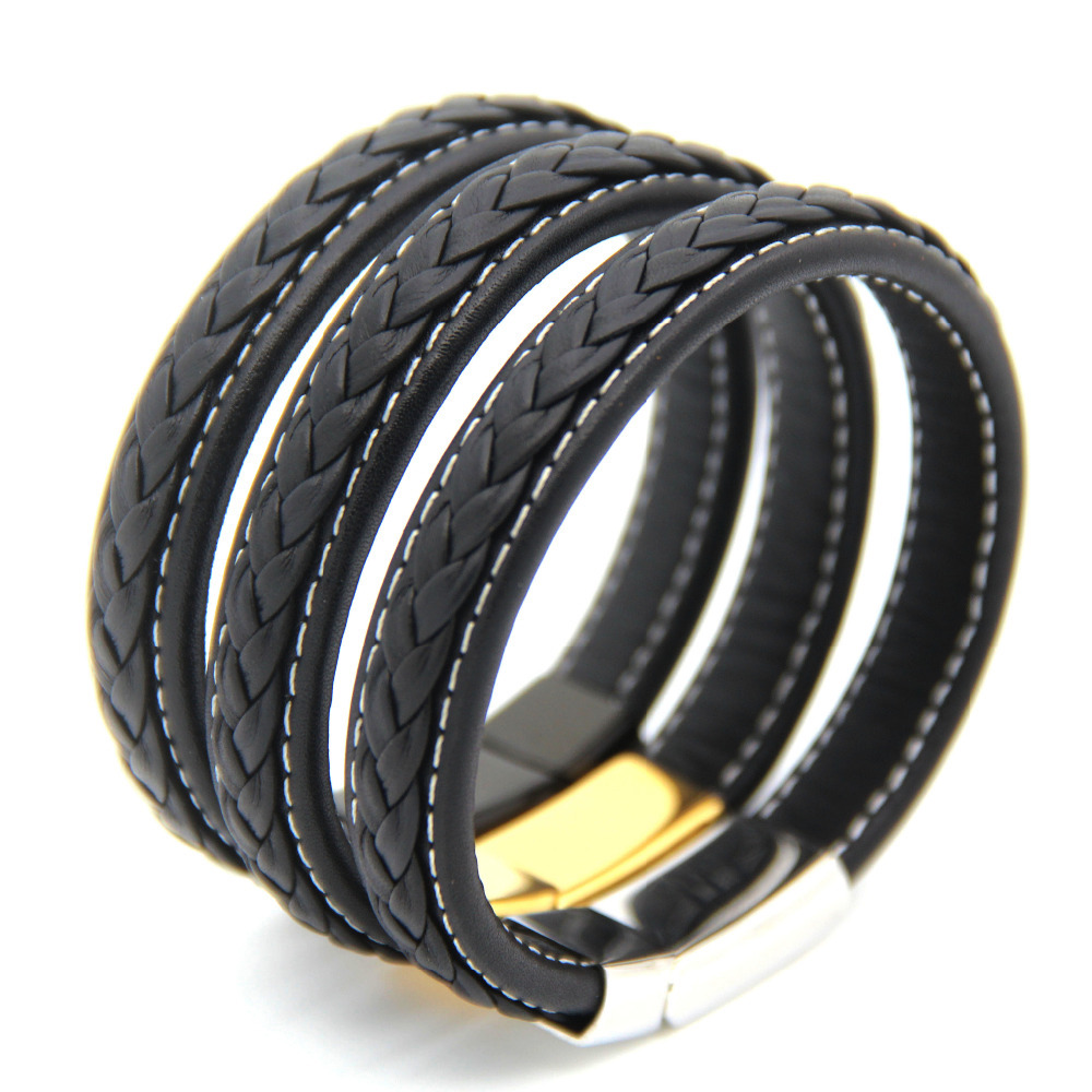 2015 New men and women Fashion High quality fine Genuine leather Stainless Steel bracelet, Braided magnetic Bangles jewelry(China (Mainland))