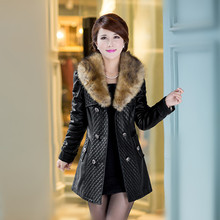 Free shipping!The new 2015 sheep pipi garment female han edition cultivate one's morality in the long dress leather trench coat(China (Mainland))
