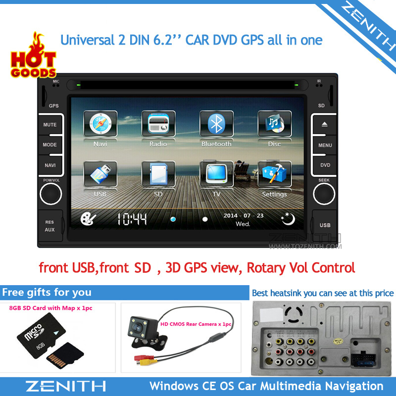"Free shipping double din touch screen car stereo 2 din car dvd gps USB SD Bluetooth FM AM 6.2"" support rear view camera input(Hong Kong)"
