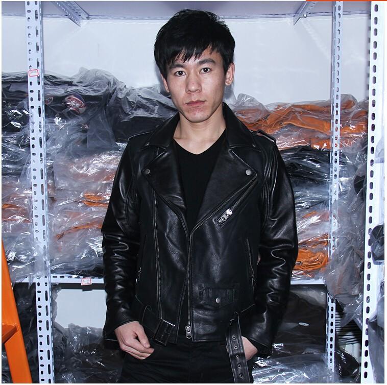 Классический восковой естественной коровьей 50 Перфекто Куртка мужская натуральная кожа черный отворот motorcycal куртка большого размера #680