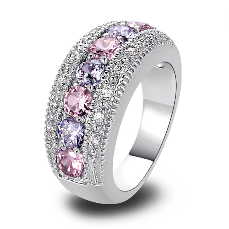 Гаджет  Wholesale Dainty Lovely Round Cut Pink & White Sapphire 925 Silver Ring Size 6 7 8 9 10 None Ювелирные изделия и часы