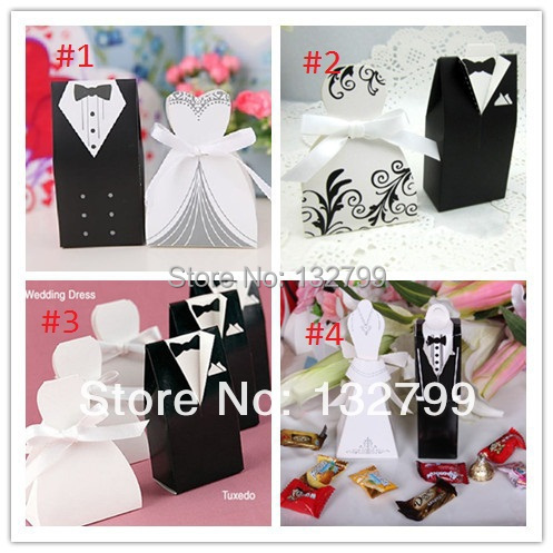 25 Pairs Wedding Dress Tuxedo Favor Boxes Bride Groom Candy Box Ribbon Wedding Sweet Holder()