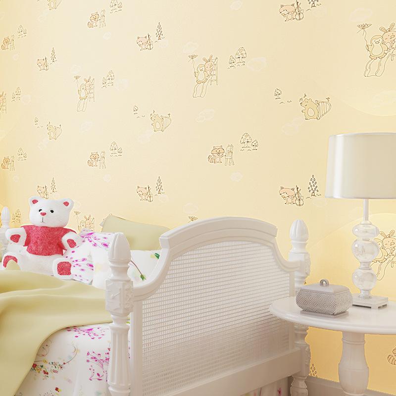 Non Woven Wallpapers Cute Little Fox Cartoon Wall Paper