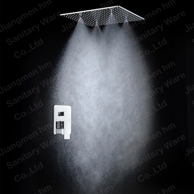 Three functions 304 stainless steel spray tainfall led shower heads /shower sets for shower bathroom embeded ceiling in Jiangmen(China (Mainland))