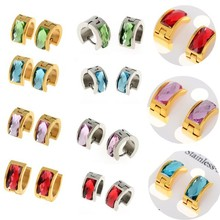 Buy 1 pair Fashion Punk Women Men Stainless Steel Bling Crystal Stud Earrings Huggie Ear Studs Gold Silver Color Free ) for $1.44 in AliExpress store