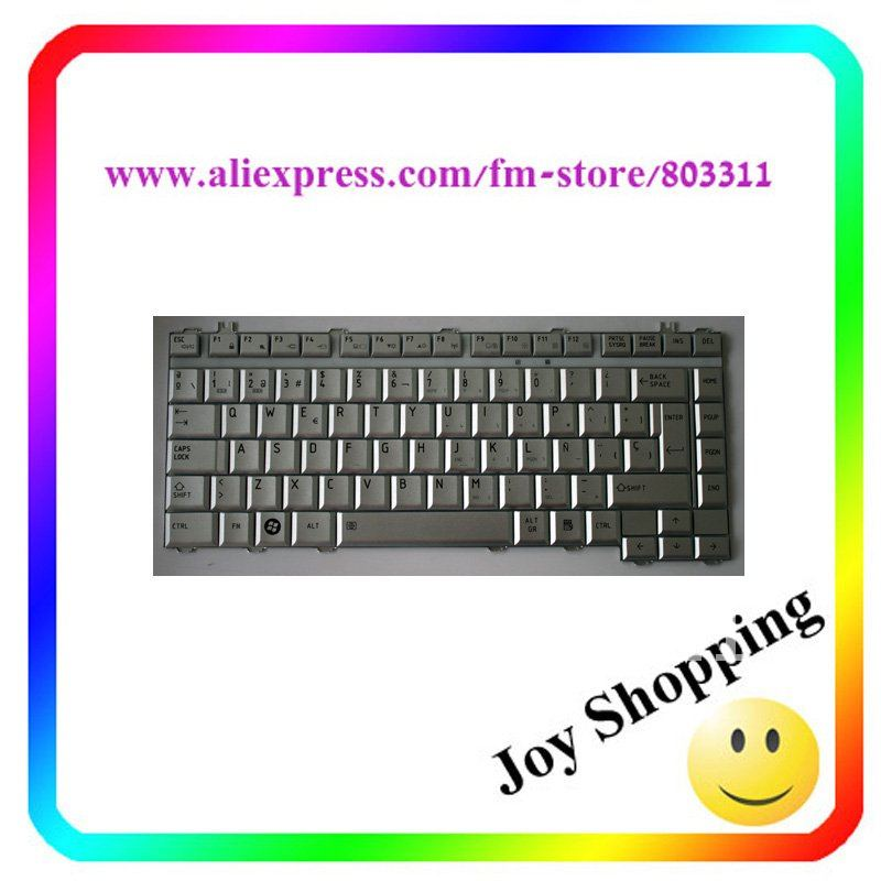 Free shipping +New silver colour SP(SPANISH) Layout Laptop keyboard for TOSHIBA A200 A205 A210 A215 Service(China (Mainland))
