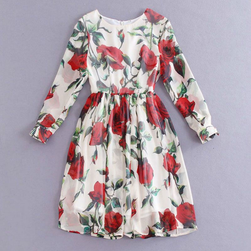Brand rose print long sleeve round collar silk expansion down slim dresses 2015 new runway autumn women's dress 588(China (Mainland))