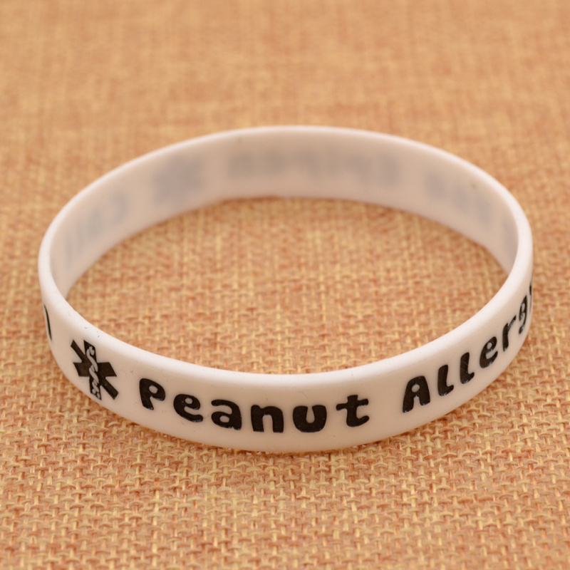 Promotional Cheap Silicone Wristbands Peanut Allergy Notice Rubber Bracelet Mens Womens(China (Mainland))