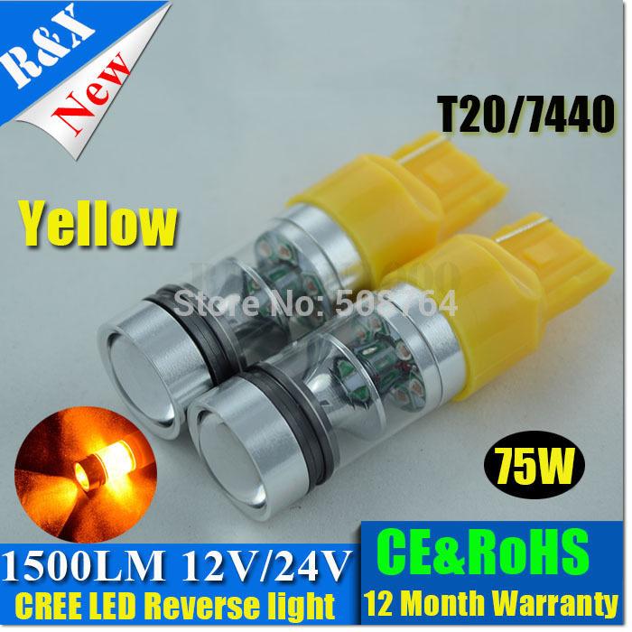 2015 New 2pcs/lot T20 7440 7443 W21W LED Car Lamp 75W 1500LM Reverse Backup Bulbs Canbus Auto Light 12V-30V White Amber Blue Red(China (Mainland))