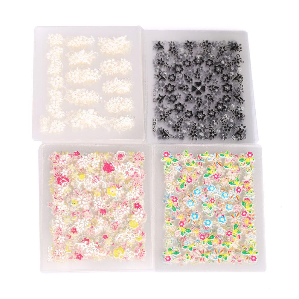 W7Tn 50PCS Sparkling 3D Nail Art Sticker Decal Flower Makeup Tips(China (Mainland))
