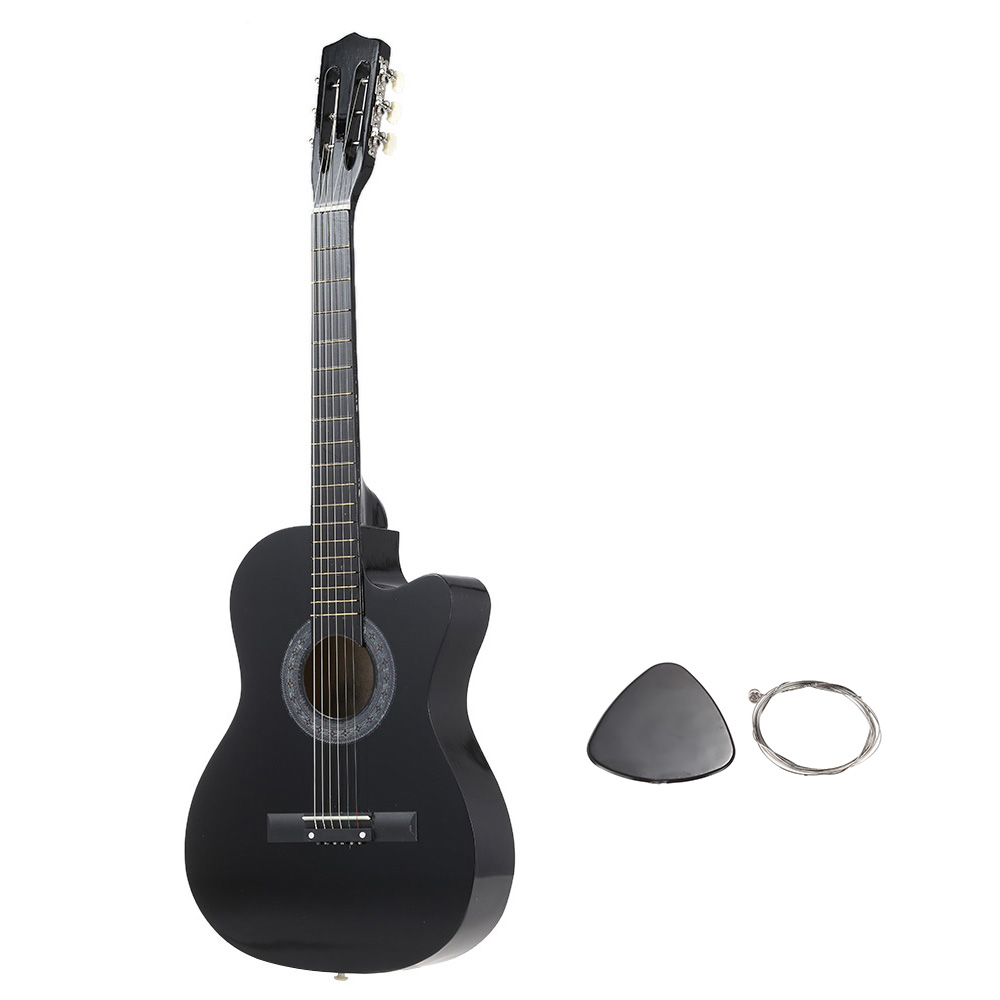 "High Quality Basswood 38"" Guitar 6-String Folk Acoustic Guitar with Durable Pick and Strings for Beginners Music Lovers Gift(China (Mainland))"