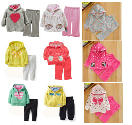 SY019 Free Shipping Original Carter Baby Clothes Set Cotton Baby Suit Coat + Pant Children Clothes Set Wholesale And Retail(China (Mainland))