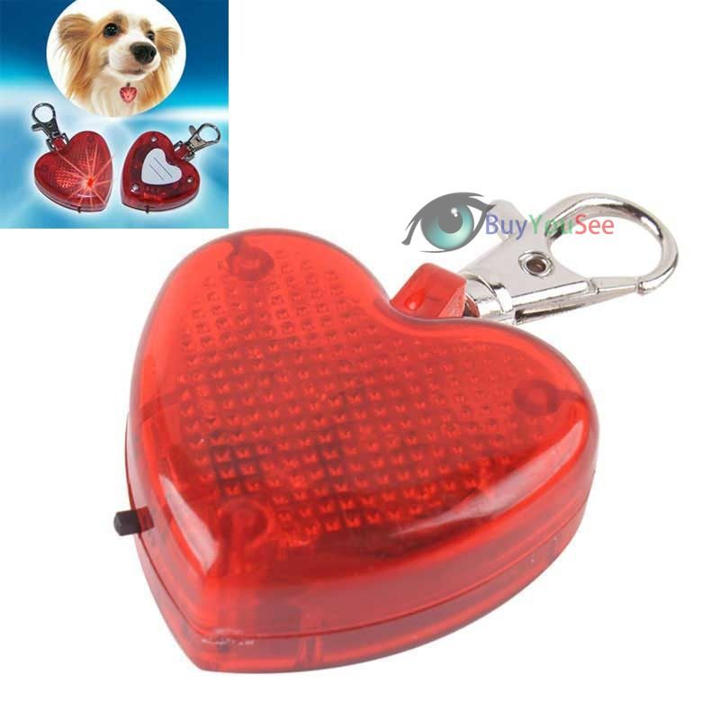 BuyYouSee Shop Cute Heart Shaped Flashing LED Pet Dog Collar Pendant Clip Buckle Night Lighting(China (Mainland))