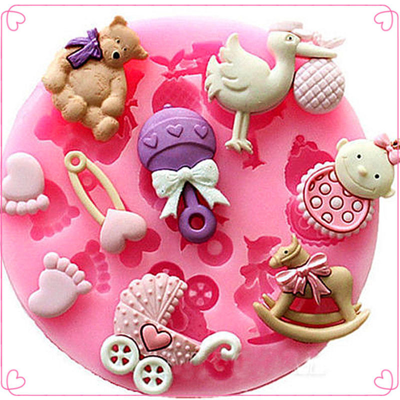 Baby Shower Party 3D Silicone Fondant Mold Cake tools kitchen supplies cooking Decorating(China (Mainland))