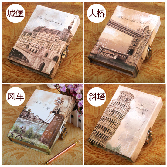 Free shipping Golden valley vintage fashion diary with lock boxed notebook hard copy notepad daily memos with lock diary<br><br>Aliexpress