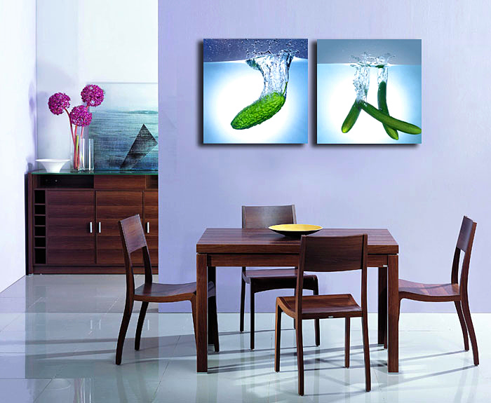 Modern Wall Art Painting Fresh Fruit Vegetable in Water Picture Canvas Prints Wall Decor for The Kitchen and Dining Room