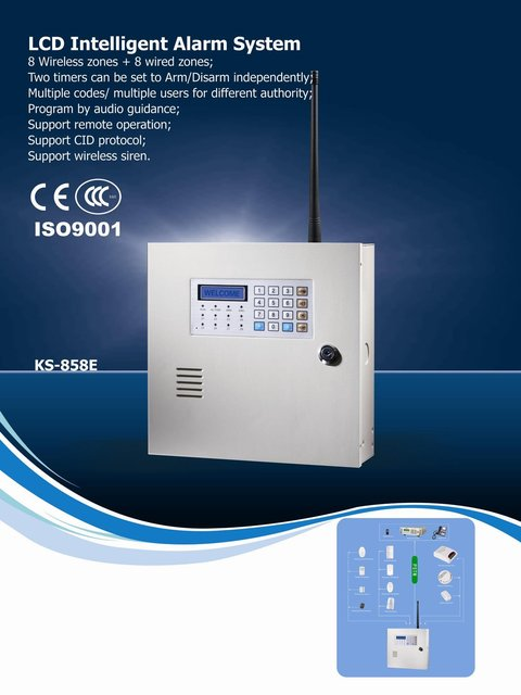 Wholesale and retail wireless security alarm system | LCD display with keypad alarm panel | 16 zone business alarm console