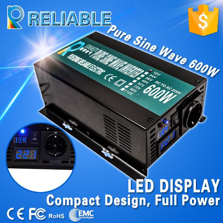 LED Display Off Grid Solar Inverter 600Watt/600W 12/24/48VDC to 110/220VAC 600W Rated Pure Sine Wave Power Inverter(China (Mainland))