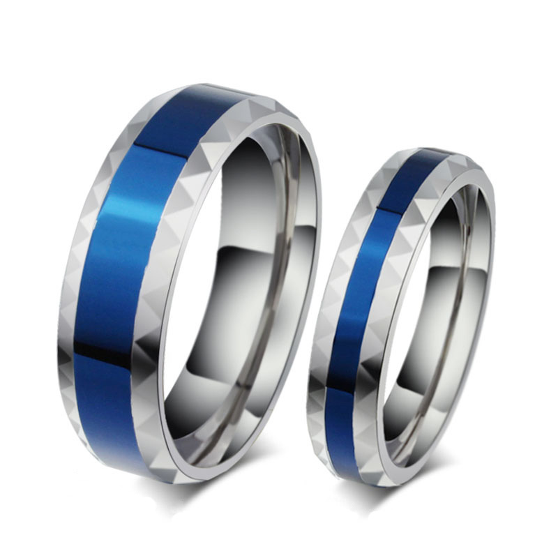 Romantic Lover Ring for Women Men Stainless Steel Couple Ring Highly Polished Blue Enamel Titanium Wedding Ring Wholesale(China (Mainland))