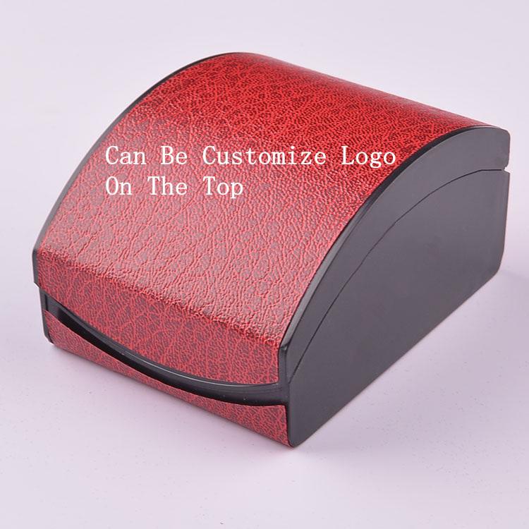 Wholesale Watch Box Plastic And PU Box Fashion Gift Box Red Round Top Watch Box Can Customize LOGO 225(China (Mainland))