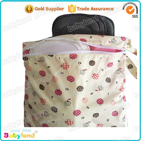 Hot Sale 10 pieces Dry / Wet Double Pocket Zipper Handle Diaper Wet Bags(China (Mainland))