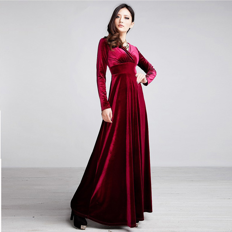 Gold Velvet Dresses Women