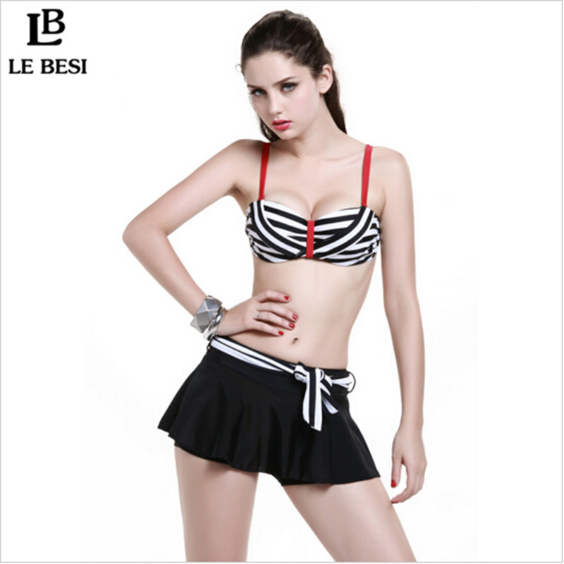 2016 New Bikinis Set Women Swimsuit Striped Skirt Type Three Pieces Swimwear Low Waist Steel Ring Bikini Bathing Suit - The first station of outdoor sports store