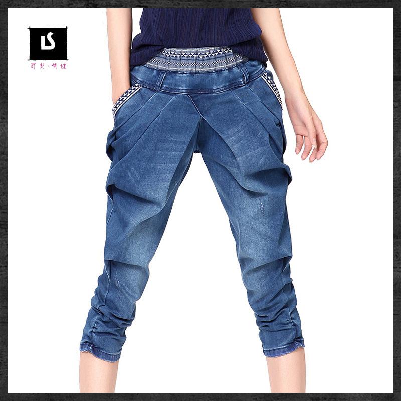 Здесь можно купить  Brand Jeans embroidery harem pants,elastic capris women