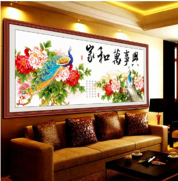 5D DIY Crystal Diamond Drawing Peony Peacock Cross Stitch 3d Rhinestone Pasted Paintings Needlework Large Picture 150*55 CM(China (Mainland))