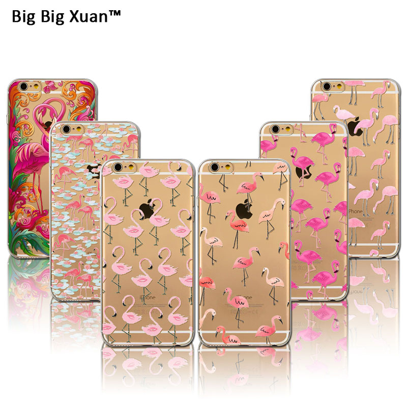 2016 New Pink Flamingo TPU Soft Case Cover For iPhone 6 6s Plus 5 5s SE 4 4s Transparent Cute Animals Silicone Cell Phone Cases(China (Mainland))