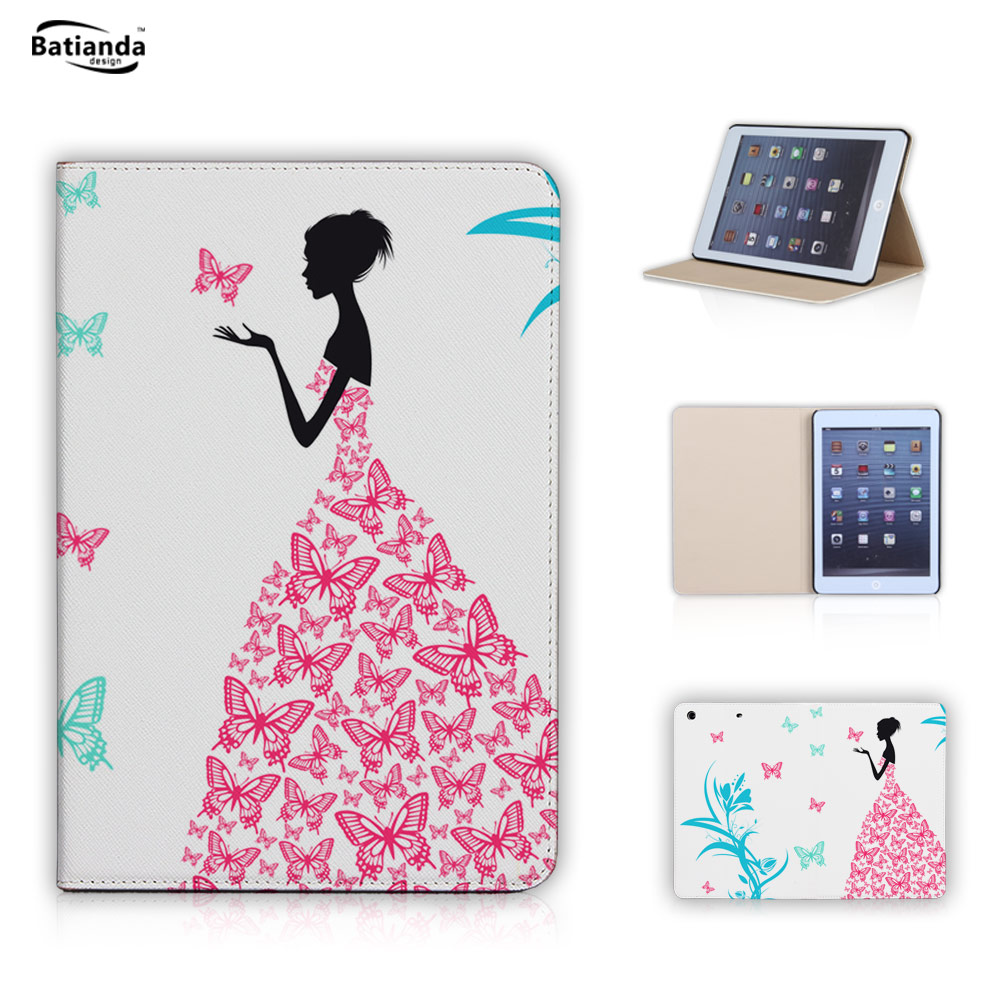 Butterfly & Girl Stand Magnetic Function Tablet Case For Ipad Mini 1 2 3 Case Ipad Mini PU Leather Cover Support DIY Design(China (Mainland))
