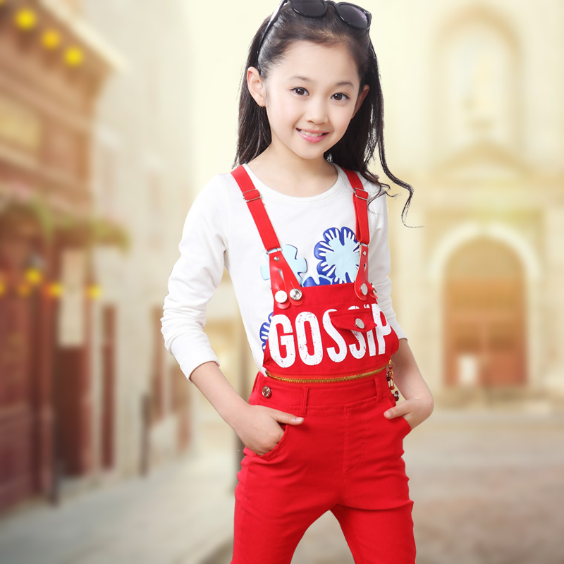 Children's clothing 2015 spring child clothes child bib pants casual set spring and autumn girls clothing set(China (Mainland))