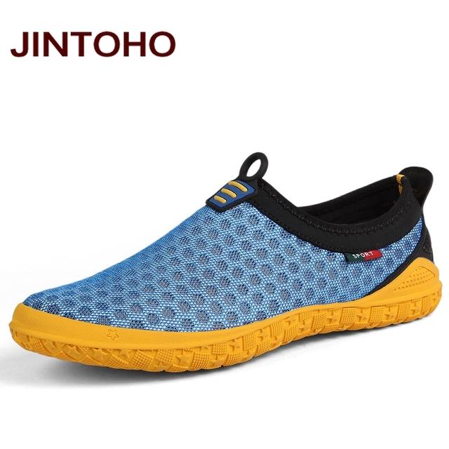 JINTOHO большой размер 38-47 мужская повседневная обувь лето дышащая скольжения на ...