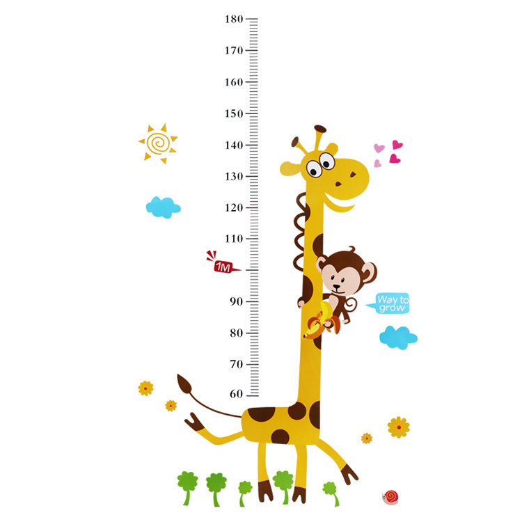 New Fashion Hot Sale Giraffe Heart Cloud Removable Vinyl Wall Decal Stickers Kid Height Chart Measure free shipping(China (Mainland))