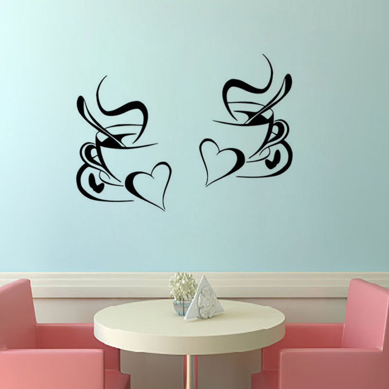 2pcs Coffee Cup Wall Sticker Home Decor Coffee Wall Art Removable Kitchen Wall Decal Vinyl Mural adesivo de parede mural 053(China (Mainland))