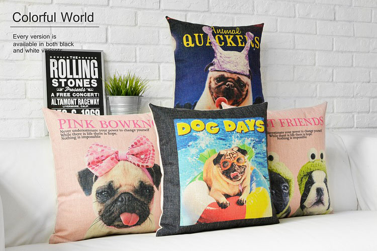 Nordic style Animal Pillowcase Painting French Bulldog and Pug Cushion Decorative Pillows Home Decor Throw Pillow Cushion 45*45